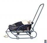 030538 Матрасик для санок из овечьей шерсти,OXFORD 630D закрытый треуг. на молнии,на завязках ЧЕРНЫЙ